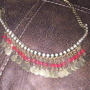 Jewelry - Gold red and rhinestone necklace